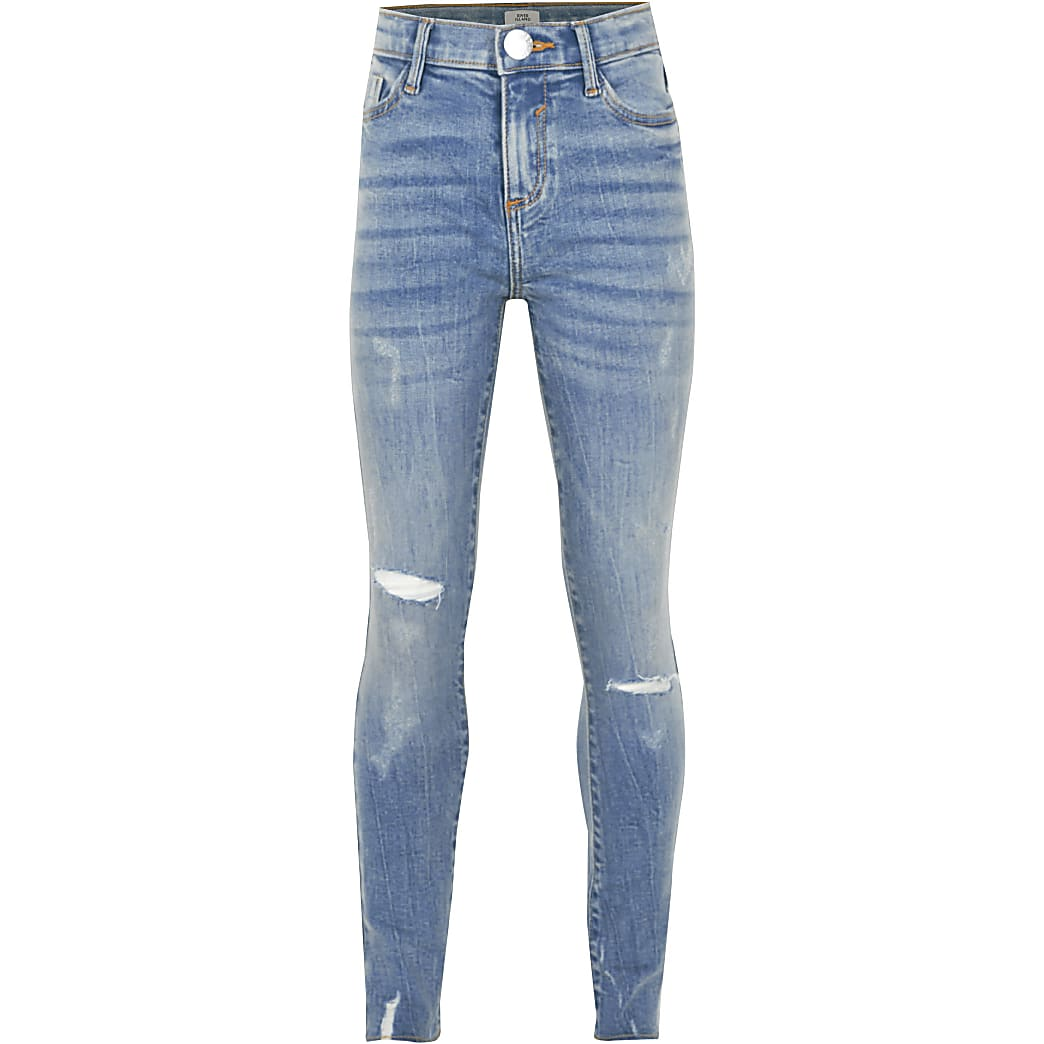 Girls blue ripped mid rise skinny jeans