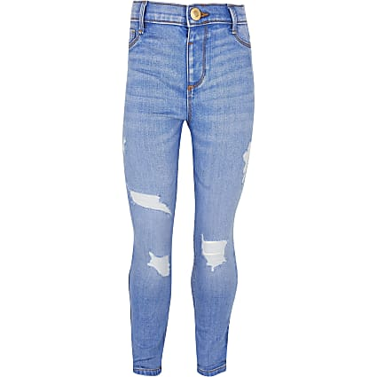Girls blue ripped Molly jeans