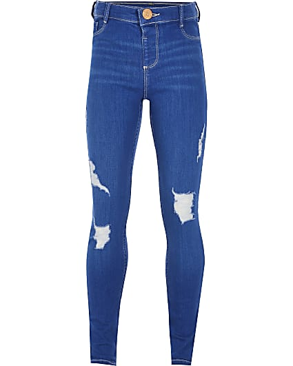 Girls blue ripped Molly mid rise jegging
