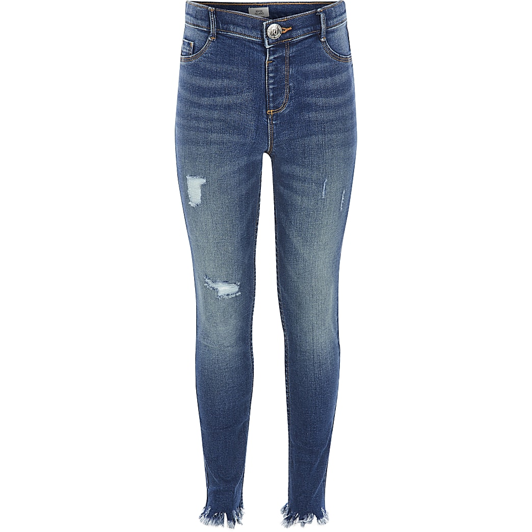 Girls blue ripped Molly mid rise jeggings