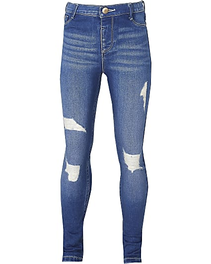 Girls blue ripped Molly skinny jeans