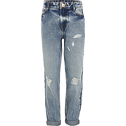 Girls blue ripped Mom high rise jean