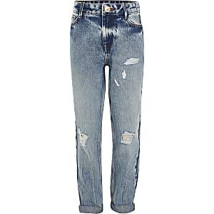 Hoch geschnittene Mom-Jeans im Used-Look für Mädchen