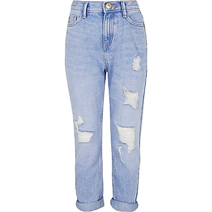 Girls blue ripped Mom jeans