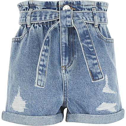 Girls blue ripped paperbag denim shorts
