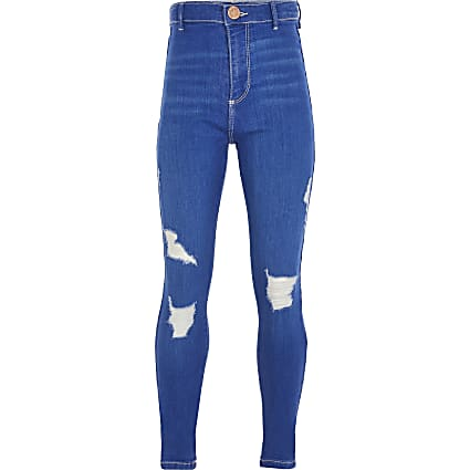 Girls blue ripped skinny high rise jean