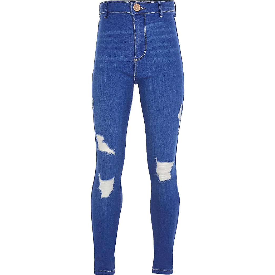 Girls blue ripped skinny high rise jean