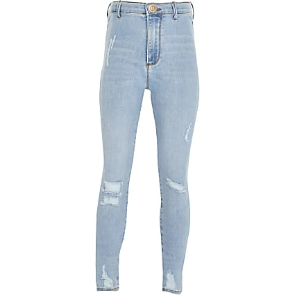 Girls blue ripped skinny high rise jeans