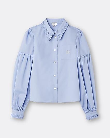 Girls blue RIR frill collar shirt