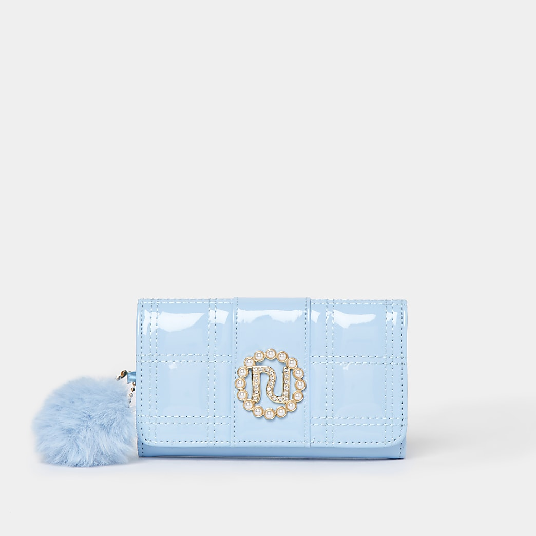 Girls blue RIR patent purse