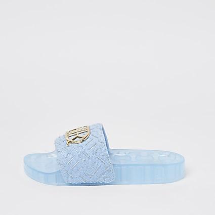 Girls blue RIR towelling print sliders