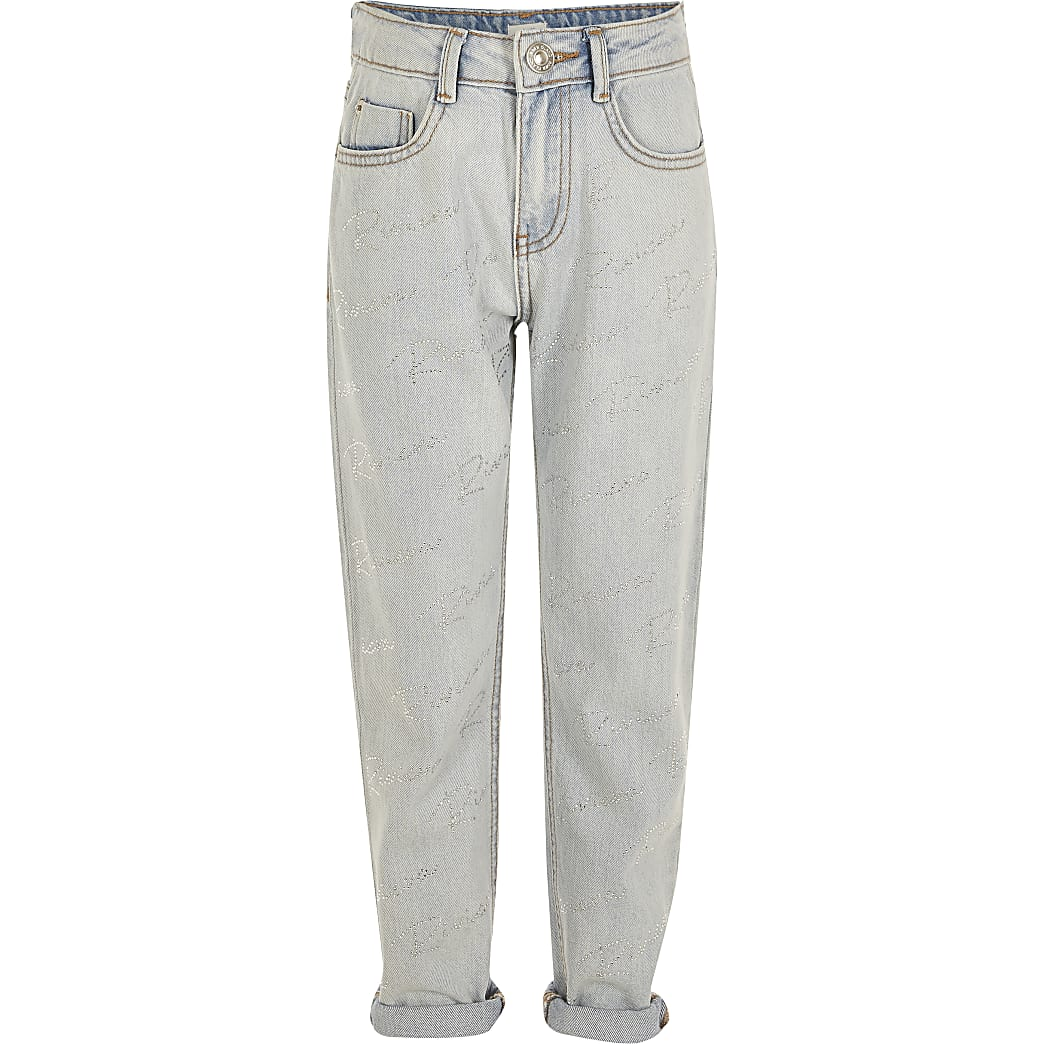 Girls blue 'Riviera' diamante Mom jeanss