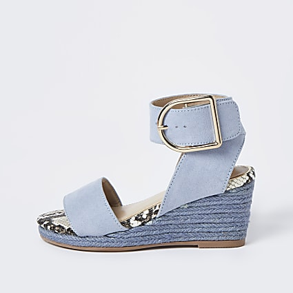 Girls blue rope wedge sandals
