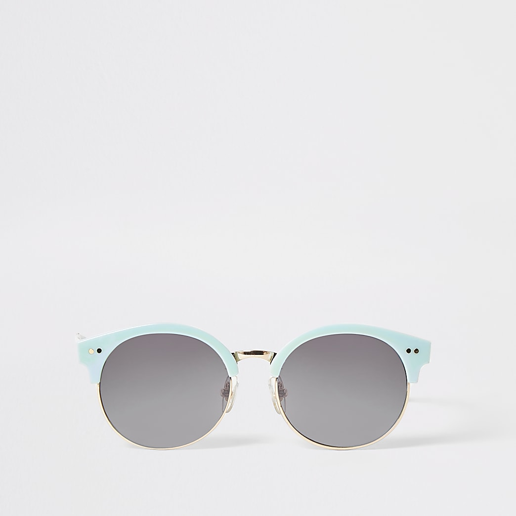 Girls blue round retro sunglasses