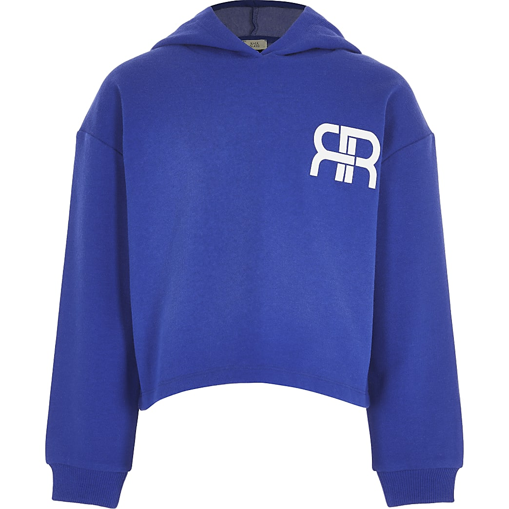 Girls blue RR chest logo hoodie