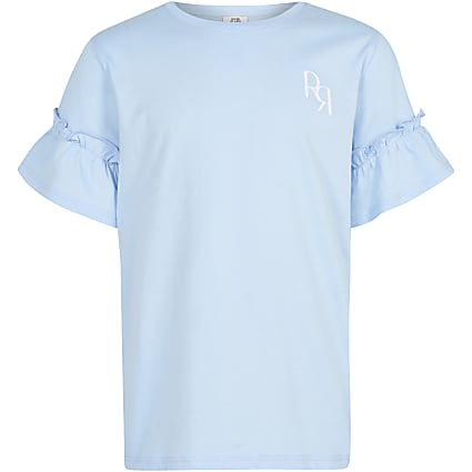 Girls blue RR ruffle sleeve t-shirt