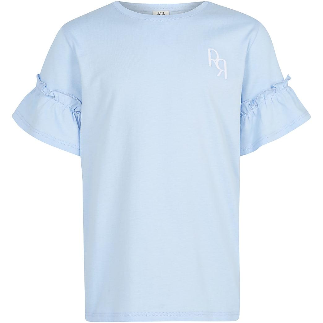 Girls blue RR ruffle sleeve t-shirt