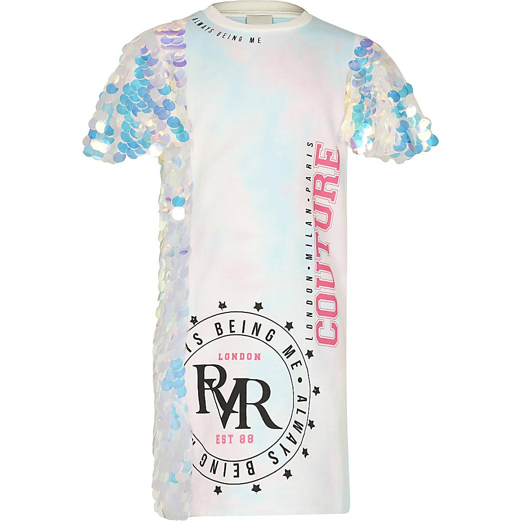 Girls blue RR tie dye sequin t-shirt