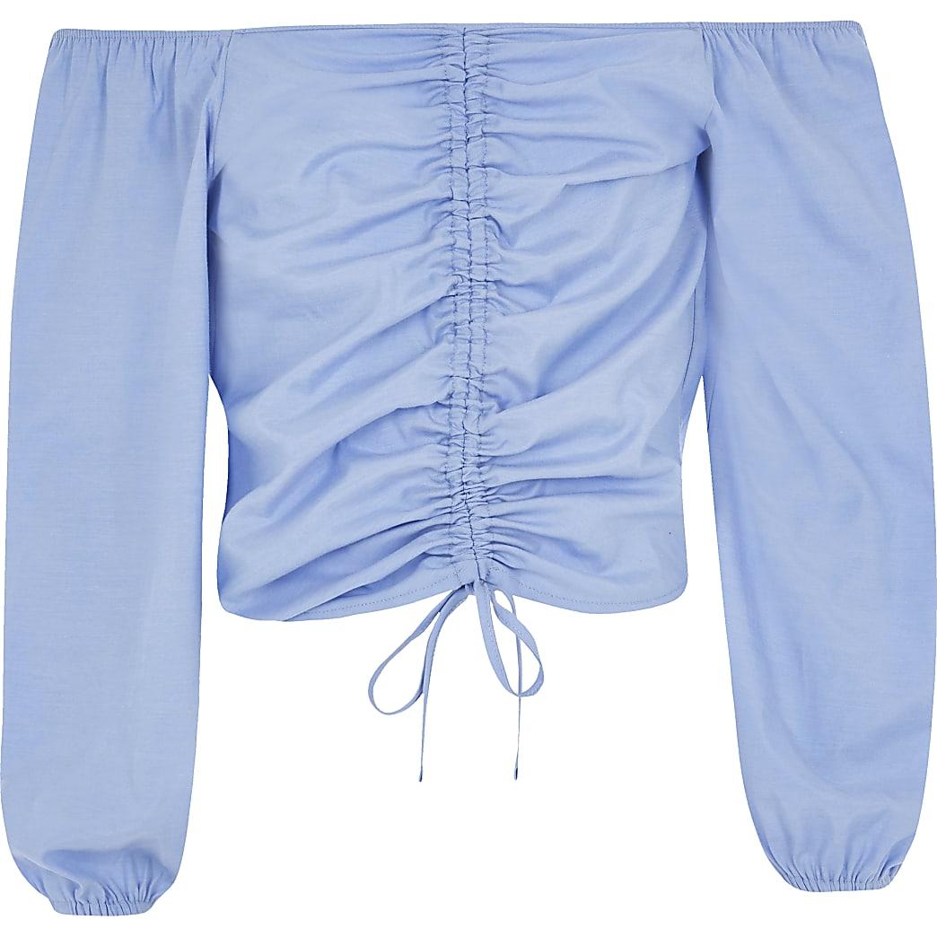 Blauwe bardottop met ruches en lange mouwen voor meisjes