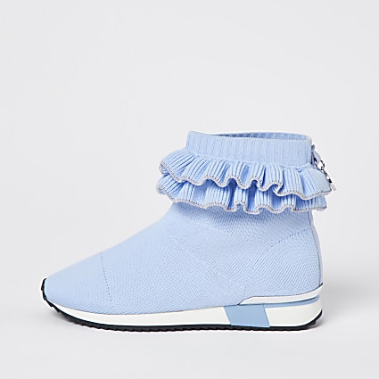 Girls blue ruffle knit sock hi top trainers