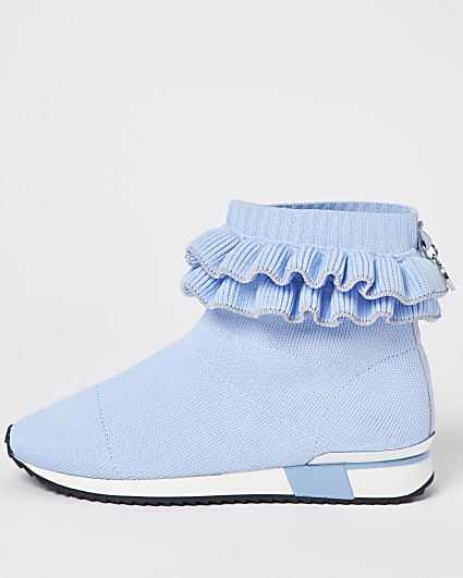 Girls blue ruffle knit sock hi top trainers