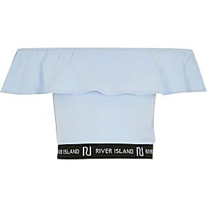 Girls blue ruffle RI tape bardot