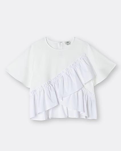 Girls blue ruffle t-shirt