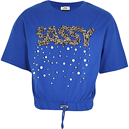 Girls blue 'Sassy' embellished t-shirt