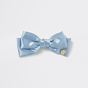 Blaue Haarspange mit Satinschleife