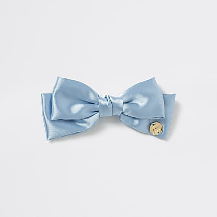 Girls blue satin bow hair clip