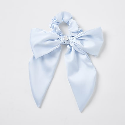 Girls blue satin bow tail scrunchie