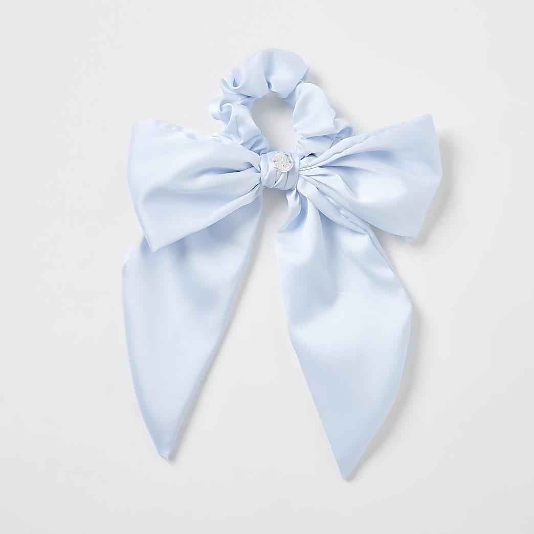 Girls blue satin bow tail scrunchie