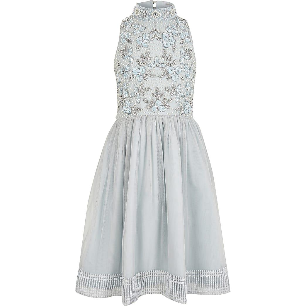 Girls blue sequin embellished prom dress