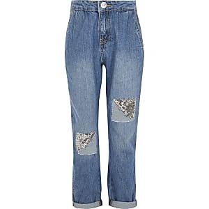 Blaue Mom-Jeans mit mittelhohem Bund und Paillettenaufnähern für Mädchen