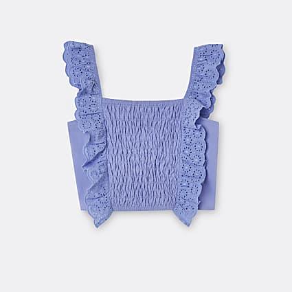 Girls blue shirred broderie frill crop top