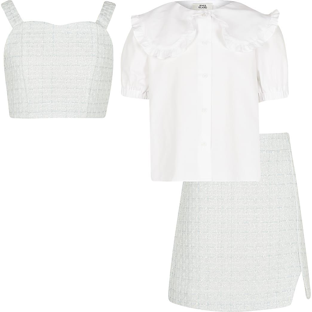 Girls blue shirt crop skirt outfit