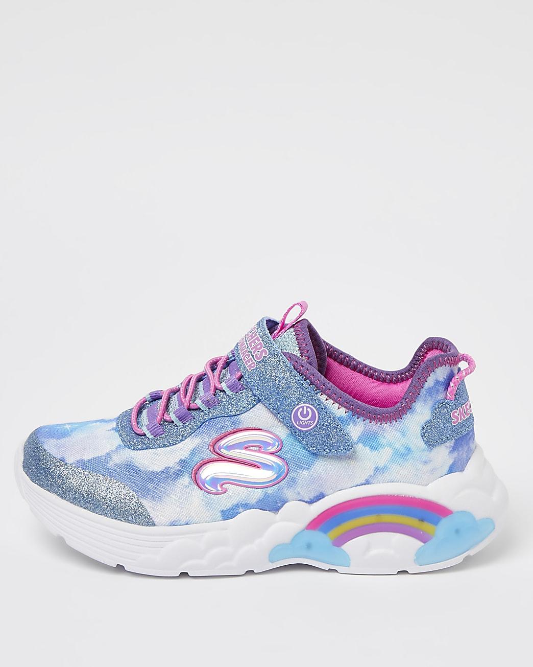 Girls blue Skechers rainbow glow up trainers