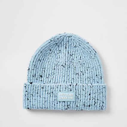 Girls blue speckled beanie hat