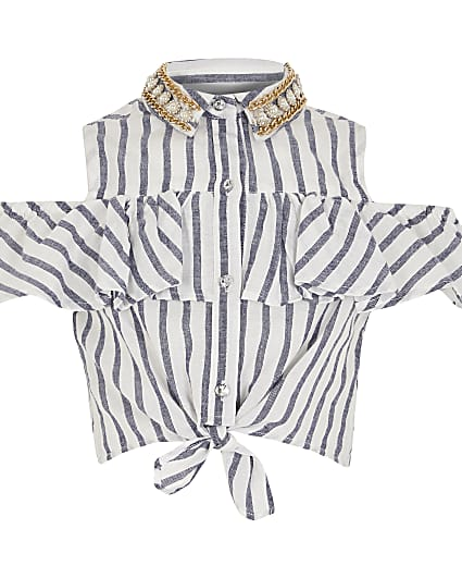 Girls blue stripe embellished shirt