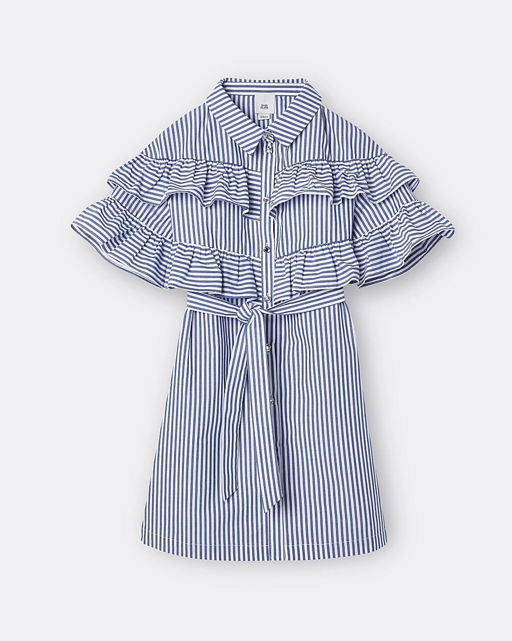 Girls blue stripe frill shirt dress