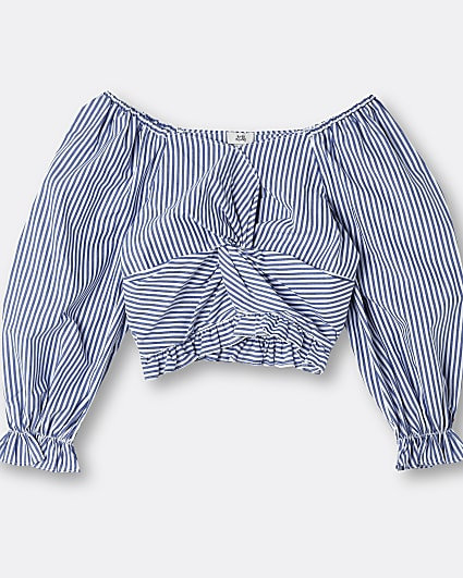 Girls blue stripe knot front blouse top