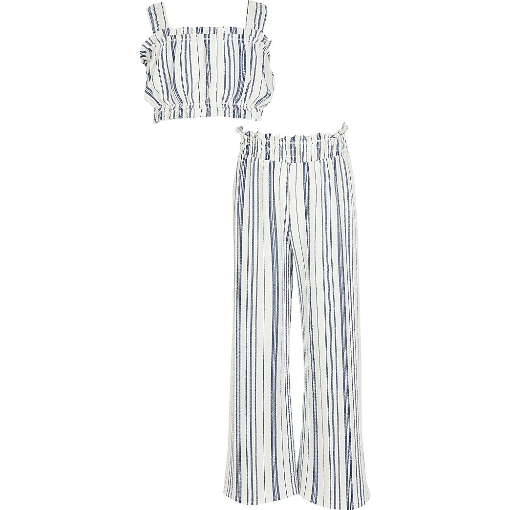 Girls blue stripe outfit
