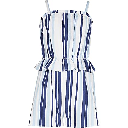 Girls blue stripe playsuit