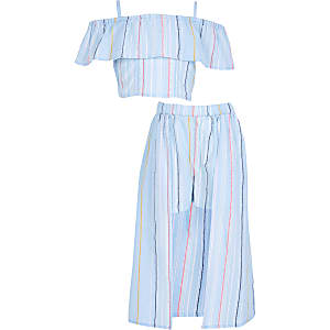 Girls blue stripe print skirt outfit