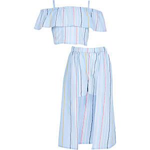 Outfit met blauwe rok met streepprint voor meisjes
