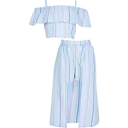 Girls blue stripe print skort outfit