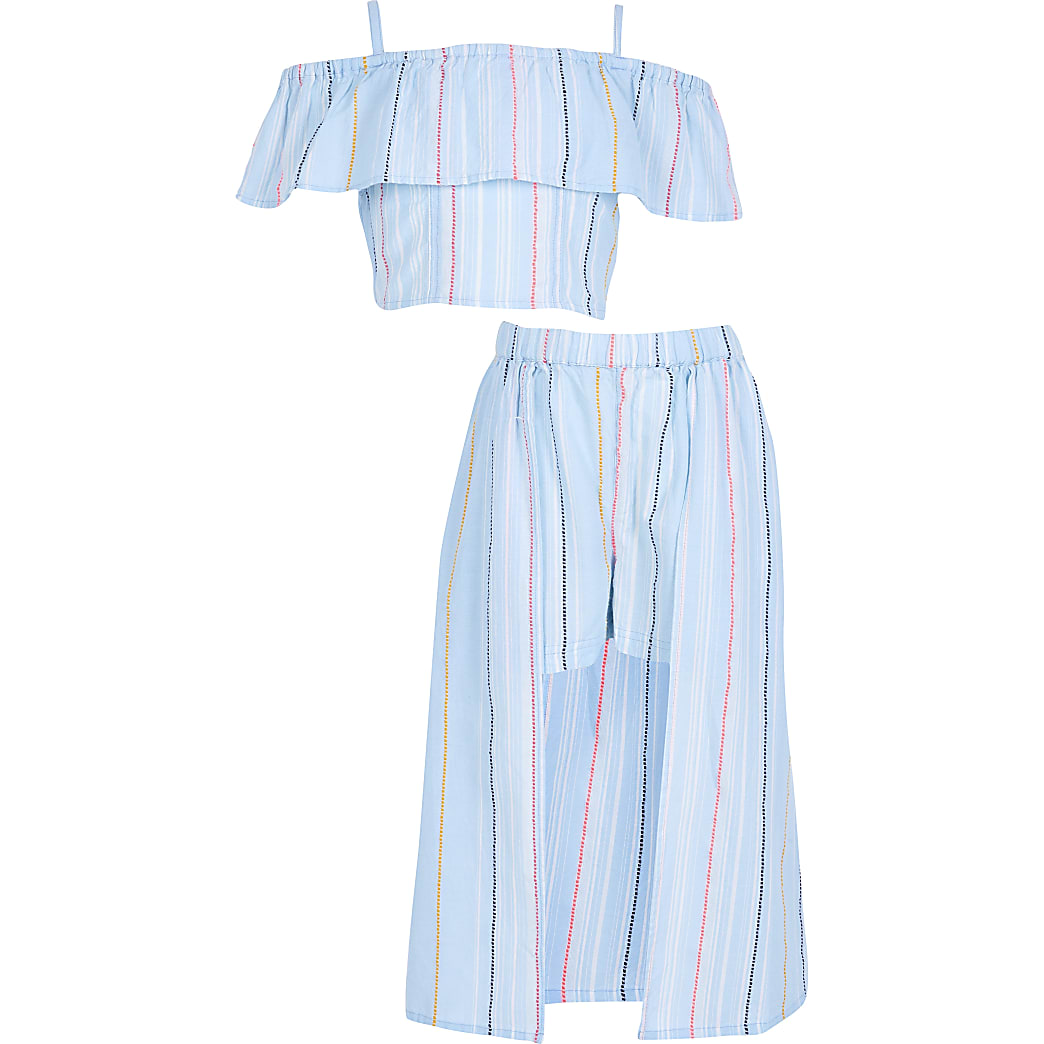 Girls blue stripe print skort outfit