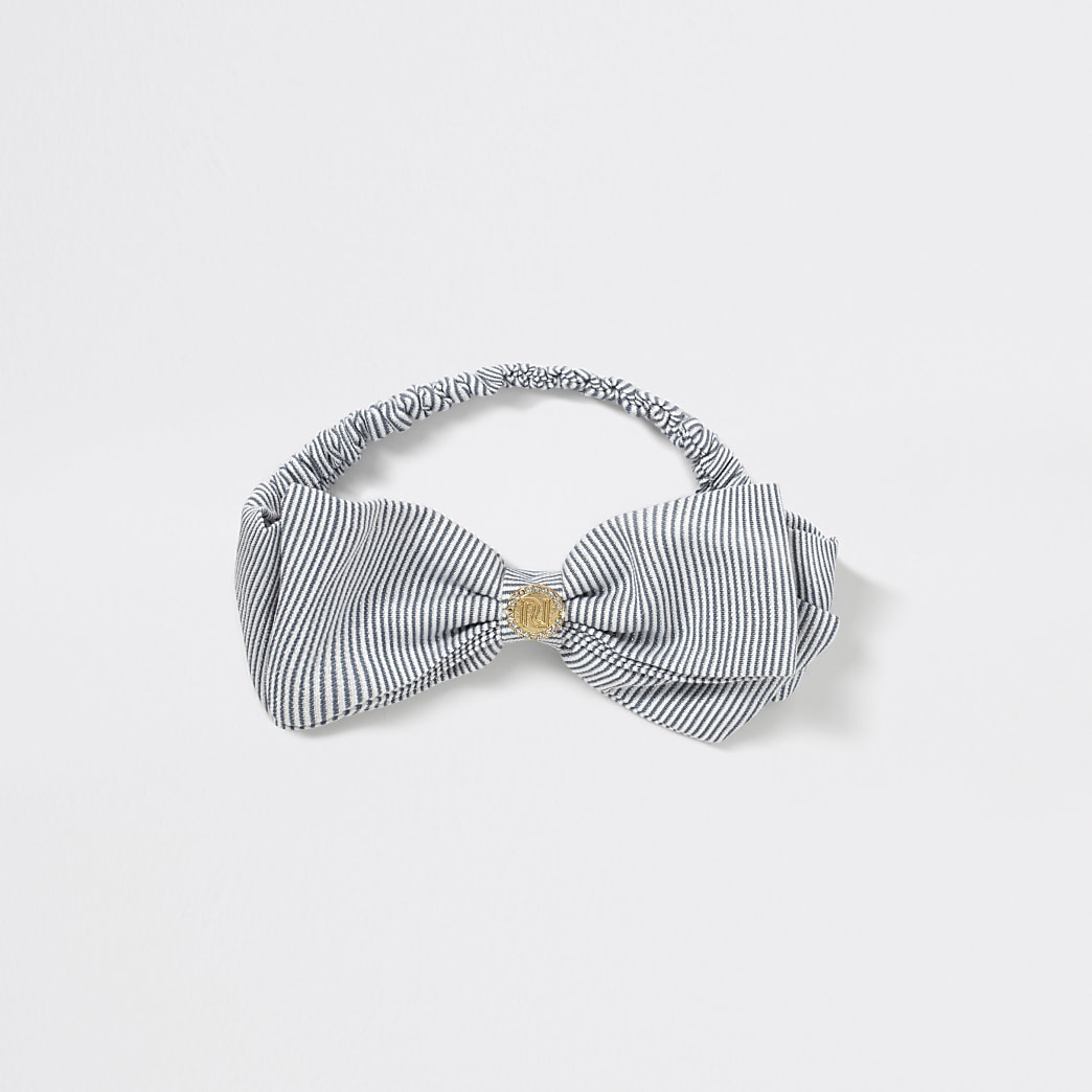 Girls blue stripe RI bow headband
