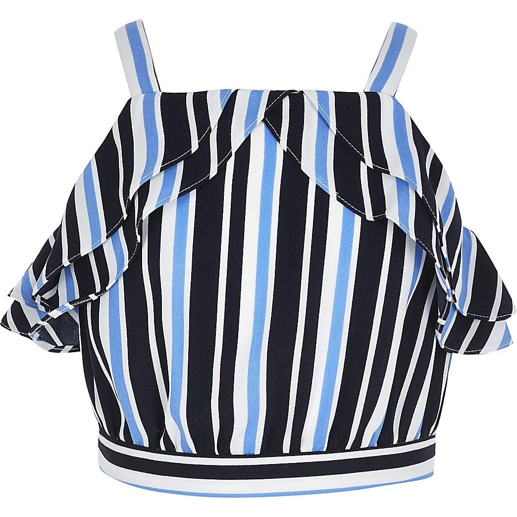 Girls blue stripe ruffle crop top