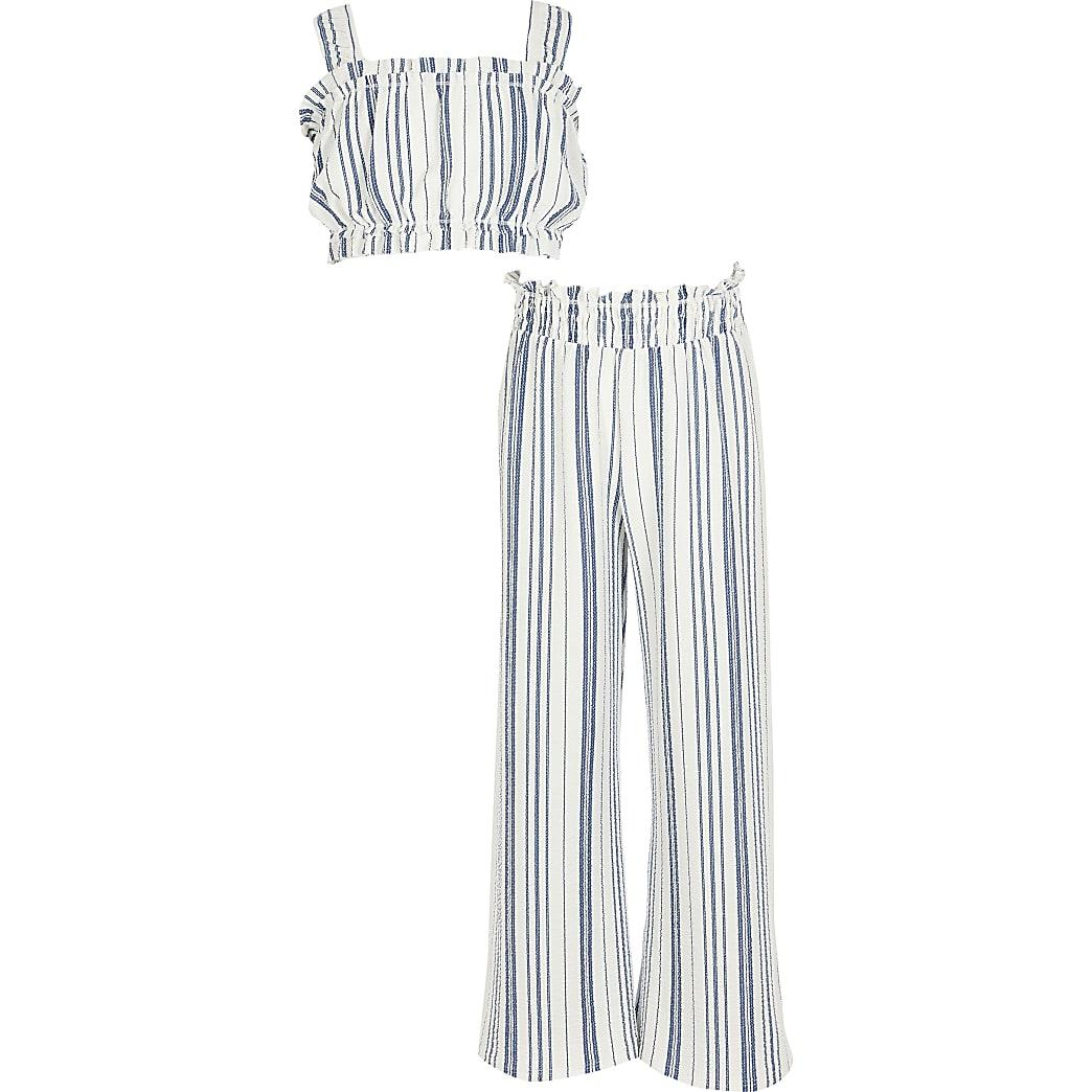 Girls blue stripe set